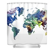 World Map Cosmos Shower Curtain