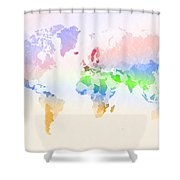 World Map Crumpled Multi-coloured Shower Curtain