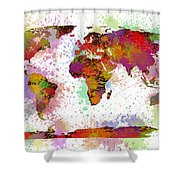 World Map Digital Watercolor Painting Shower Curtain