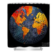 World Map - Elegance Of The Sun Baseball Square Shower Curtain by Andee Design