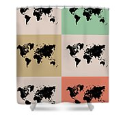 World Map Grid Poster 2 Shower Curtain