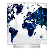 World Map In Blue Lights Shower Curtain