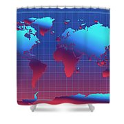 World Map In Blue Shower Curtain