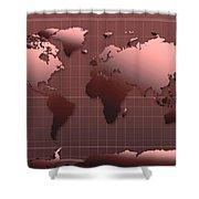 World Map In Dark Red Shower Curtain