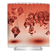 World Map In Geometic Red Shower Curtain