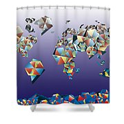 World Map In Geometric Fractal 2 Shower Curtain