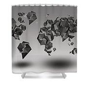 World Map In Geometric Fractal Shower Curtain