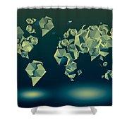 World Map In Geometric Green Shower Curtain