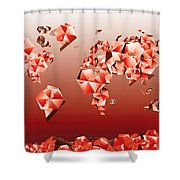 World Map In Geometric Red Shower Curtain