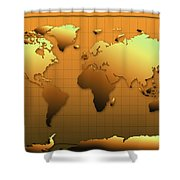World Map In Gold Shower Curtain