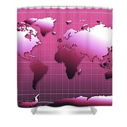 World Map In Pink Shower Curtain