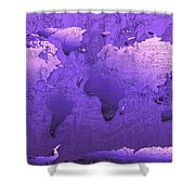 World Map In Purple Shower Curtain