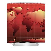 World Map In Red Shower Curtain
