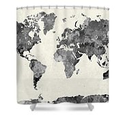 World Map In Watercolor Gray Shower Curtain