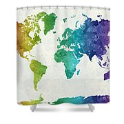 World Map In Watercolor Rainbow Shower Curtain