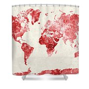 World Map In Watercolor Red Shower Curtain