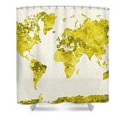 World Map In Watercolor Yellow Shower Curtain