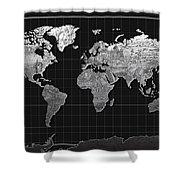World Map Landmark Black Shower Curtain
