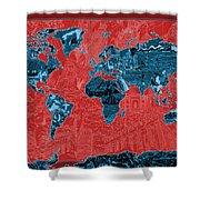 World Map Landmark Collage 11 Shower Curtain