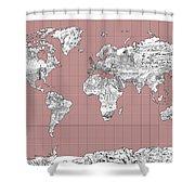 World Map Landmark Collage 2 Shower Curtain