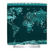 World Map Landmark Collage 4 Shower Curtain
