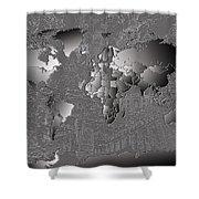 World Map Landmark Collage 6 Shower Curtain