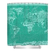 World Map Landmark Collage Green Shower Curtain