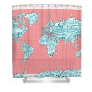 World Map Landmark Collage Shower Curtain