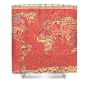 World Map Landmark Collage Red Shower Curtain