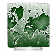 World Map Novo In Green Shower Curtain