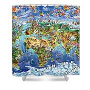 World Map Of World Wonders Shower Curtain