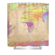 World Map Pastel Watercolors Shower Curtain