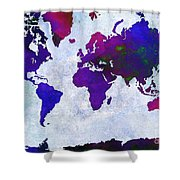 World Map - Purple Flip The Light Of Day - Abstract - Digital Painting 2 Shower Curtain by Andee Design