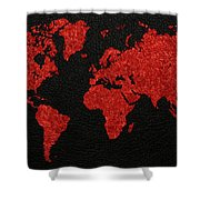 World Map Red Fabric On Dark Leather Shower Curtain