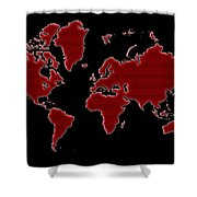 World Map Red Grid Shower Curtain