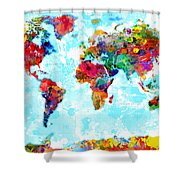 World Map Spattered Paint Shower Curtain