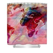 World Map Splash Of Color Shower Curtain
