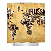 World Map Typography 6 Watercolor Painting Shower Curtain
