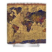 World Map Vintage Shower Curtain