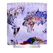 World Map Watercolor 2 Shower Curtain