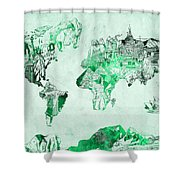 World Map Watercolor 4 Shower Curtain