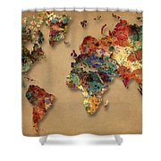 World Map Watercolor Painting 1 Shower Curtain