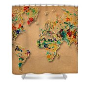 World Map Watercolor Painting 2 Shower Curtain
