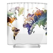 World Map Watercolor Painting Shower Curtain
