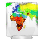 World Map Wathercolor Shower Curtain