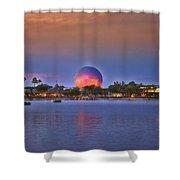 World Showcase Lagoon Sunset Shower Curtain