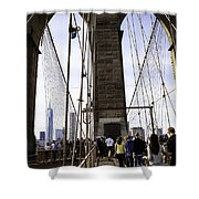 World Trade Center Through The Bridge Shower Curtain