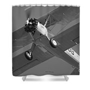 Stearman Trainer Bi Plane Black And White Shower Curtain
