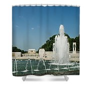 World War II Monument With Lincoln Monument Shower Curtain
