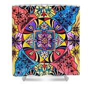 Worldly Abundance Shower Curtain by Teal Eye  Print Store